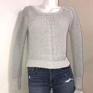 Abercrombie&Fitch Silver Sparkly Cable KnitSweater